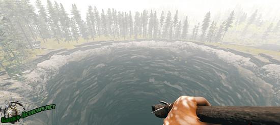 Вид на кратер в The Forest