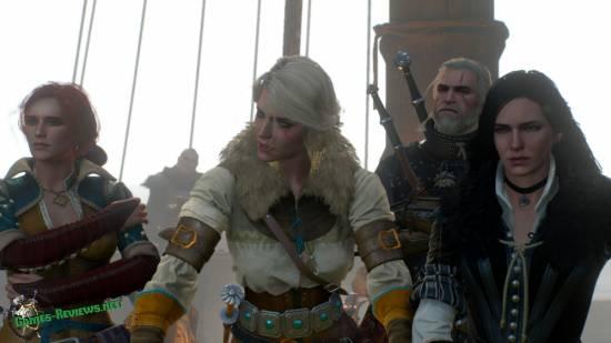 Трисс, Цири, Ян и Геральт на корабле